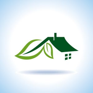 icon of a green home with leaves growing on it to symbolize energy efficiency