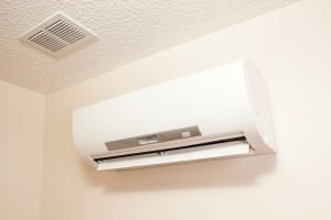 ductless air handler mounted high on wall
