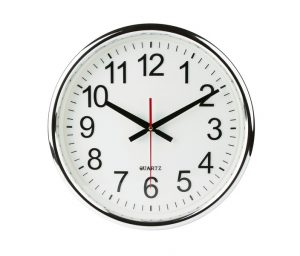 standard clock on a white wall
